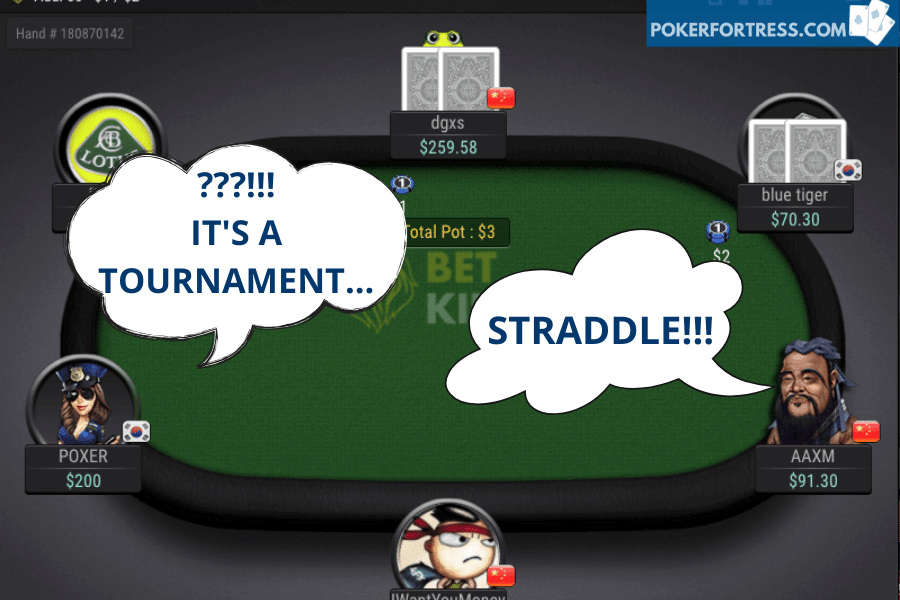 is straddling in a poker tournament allowed?