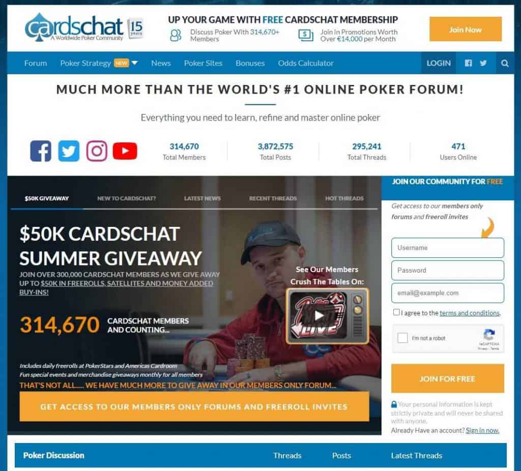 CardsChat is a popular poker forum.