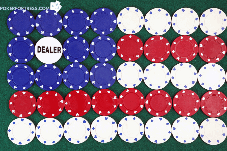 Poker chips with no values printed on them.