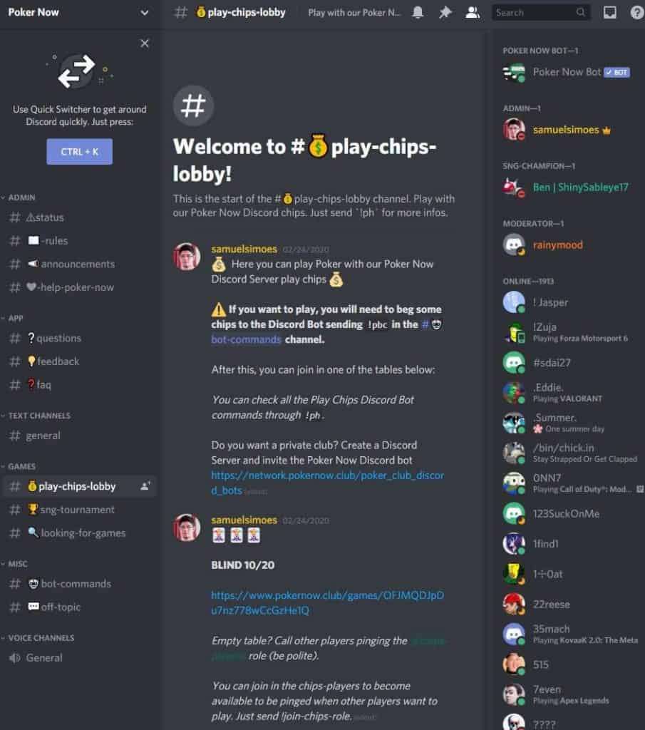 Poker Now discord channel.