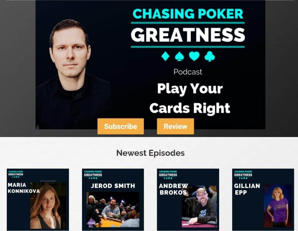 Chasing Poker Greatness poker podcast.