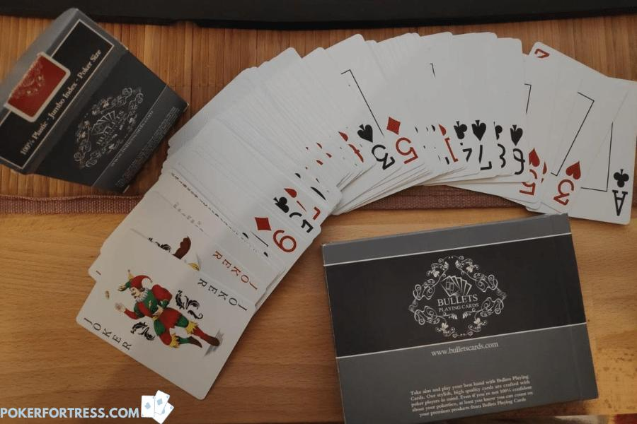 Poker style cards are wider than bridge cards.