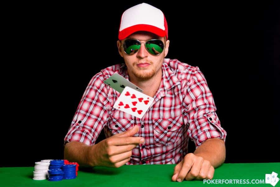 poker player showing cards when folding